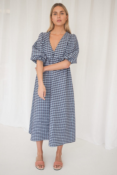 Zahora Midi Dress Blue Checks