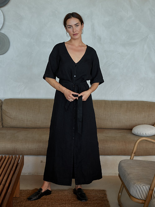 Yuma Black Linen Midi Dress
