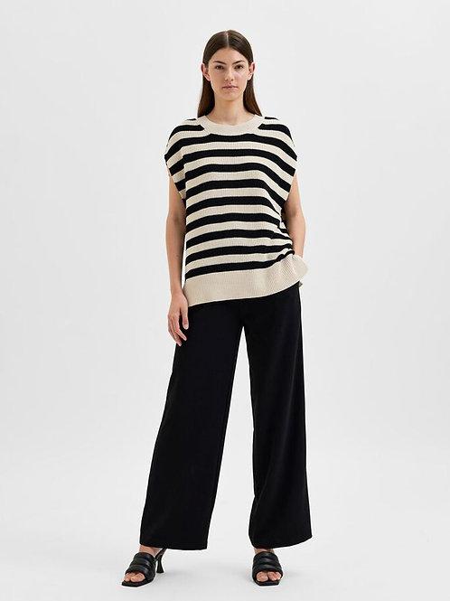 Palma Knit Vest - Stripe Black / Birch