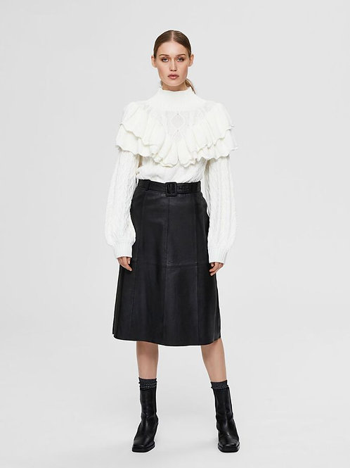 Midi Leather Skirt Black