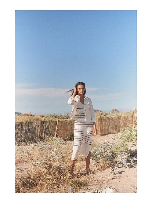 Acacia Dress Navy Stripe