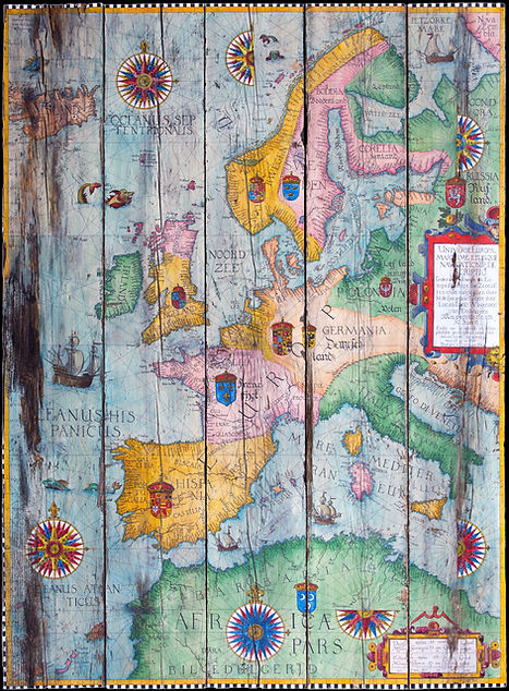 Reproduction of old marine map Portugalliae pars of cartographer Lucas Janszoon Waghenaer 1584 by the artist C. Lions, C. Lions,Drawing,painting,wood,Old,map,Waghenaer,forlani,Mercator,cartography,artwork,nautical,century,portolan,wanderlust