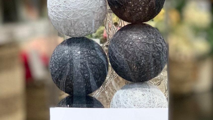 Guirlande boules led coton grises