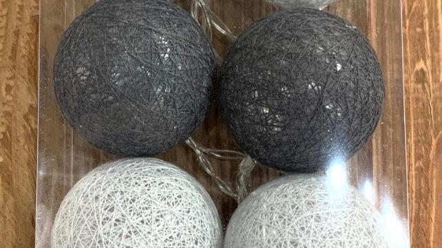 Guirlande 10 boules led grises