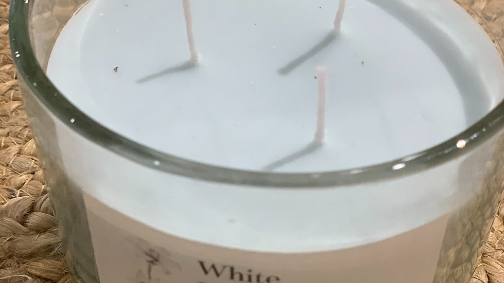 bougie en verre 3 mèches 11x8 cm white lily
