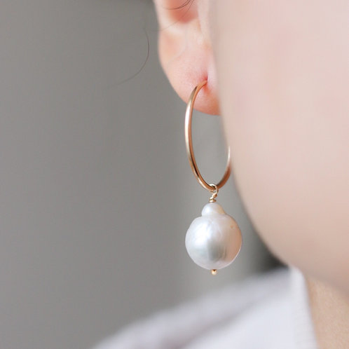 Arielle - Classic Freshwater Pearl Hoops