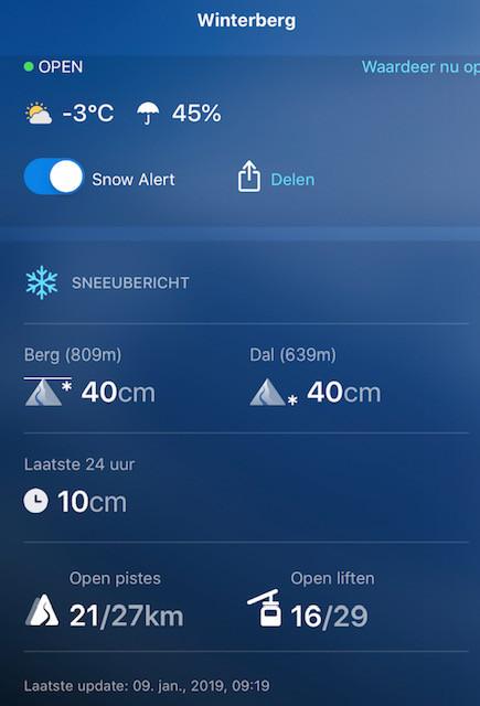Sneeuwcondities Winterberg 9-1-2019