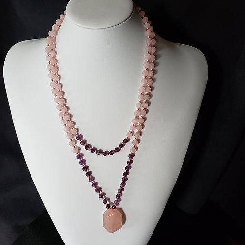 Amethyst & Rose Quartz Long Necklace