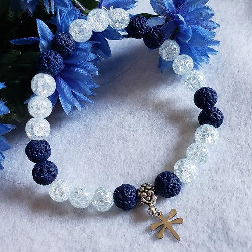 Lava Stone & Quartz Dragonfly Bracelet