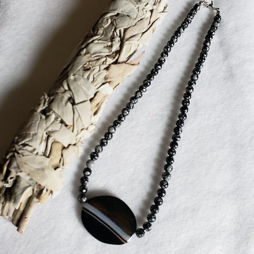 Snowflake Obsidian Necklace w/Agate Pendant