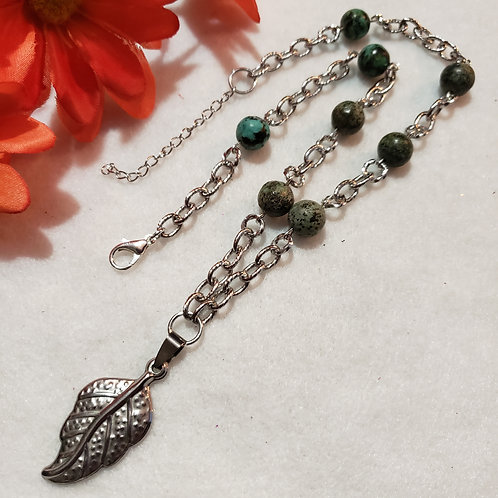 African Turquoise Necklace - Feather