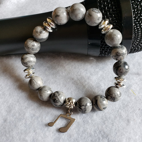 Grey Picture Jasper w/Music Note