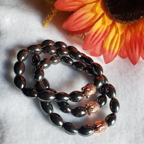 Hematite Buddha Head Bracelet (Rose Gold Tone)