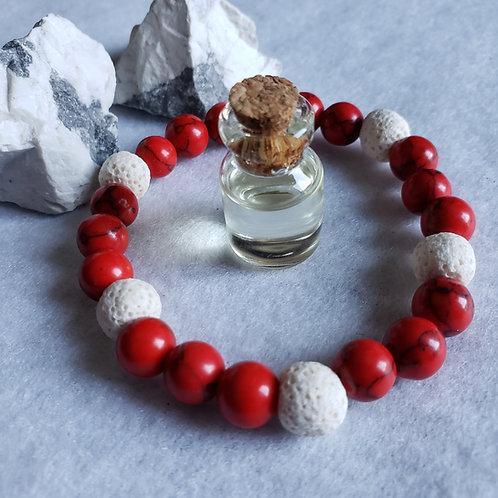 Red Howlite & Lava Stone Aromatherapy Set