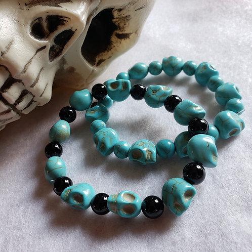Blue Howlite Skull Bracelet
