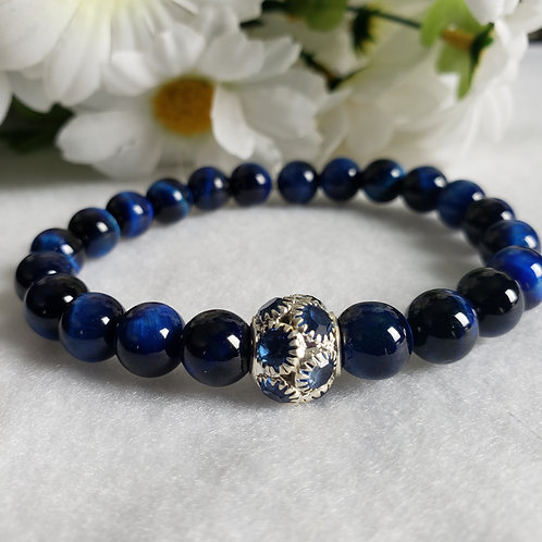 Blue Tiger's Eye Bracelet w/blue Rhinestone Bead