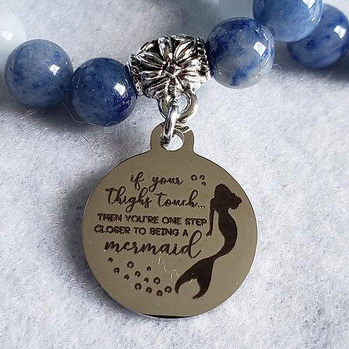 Aventurine & Aquamarine Mermaid Charm Bracelet