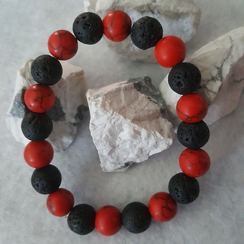Red Howlite & Black Lava Stone