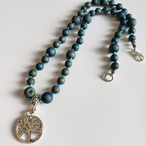 Teal/Green Druzy Agate Tree of Life Necklace