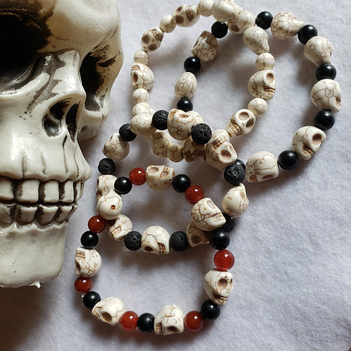 Natural Howlite Skull Bracelet