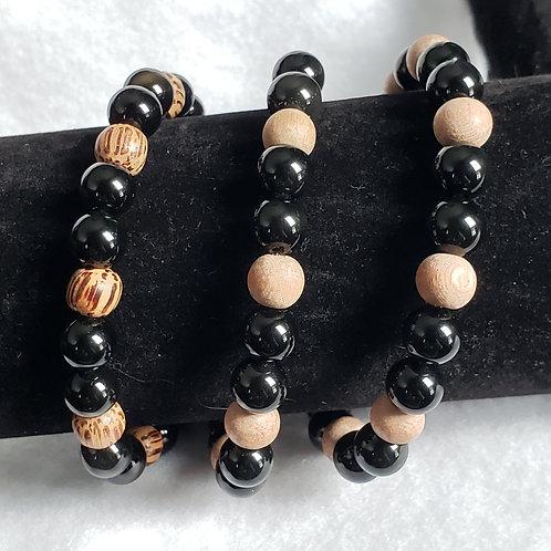 Obsidian & Wood Bead Bracelets