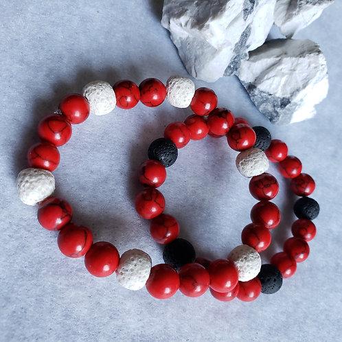 Red Howlite & Lava Stone Bracelet