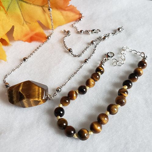 Tiger's Eye Necklace & Bracelet Set