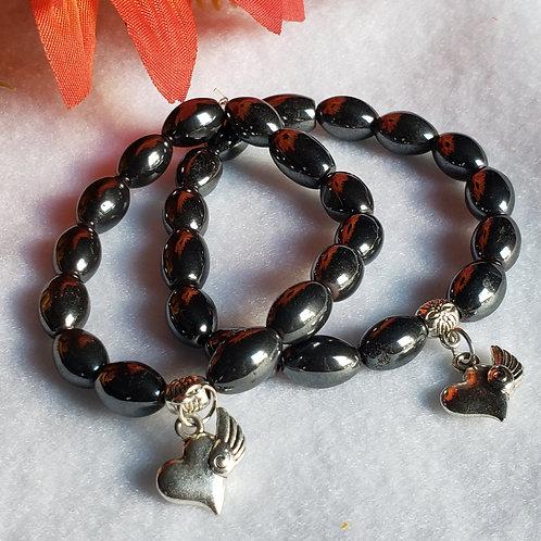 Hematite Bracelet w/Winged Heart