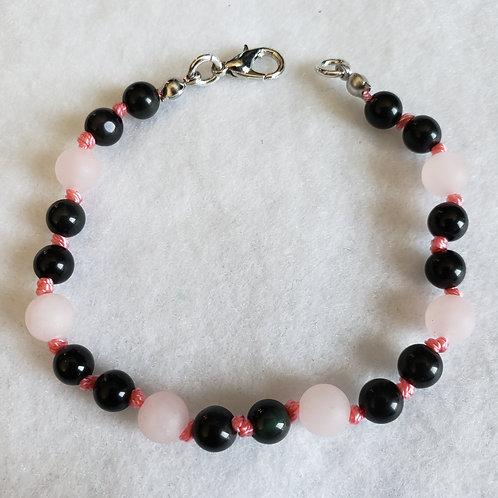 Rose Quartz & Onyx Hand Knotted Bracelet