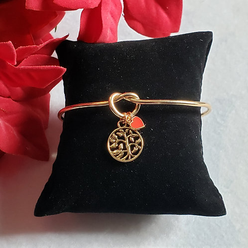 Rose Gold Toned Bangle - Tree Of Life