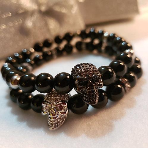 Pave Skull Onyx Bracelet