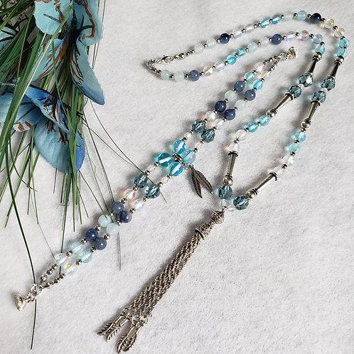 Unique Blue Crystal Necklace & Bracelet Set