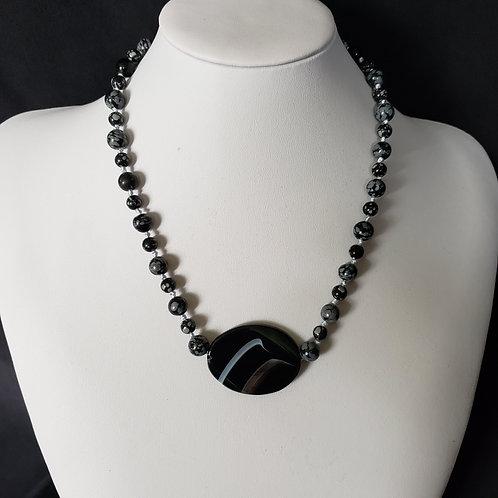 Snowflake Obsidian Necklace w/Agate Pendant