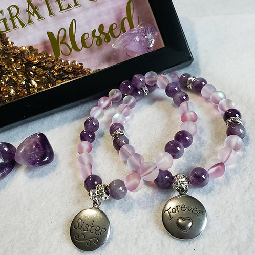 Amethyst & Purple Mermaid Quartz Bracelet Set