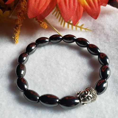Hematite Buddha Head Bracelet (Silver Tone)