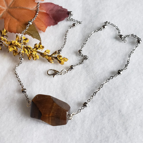 Stainless Steel Tiger Eye Necklace