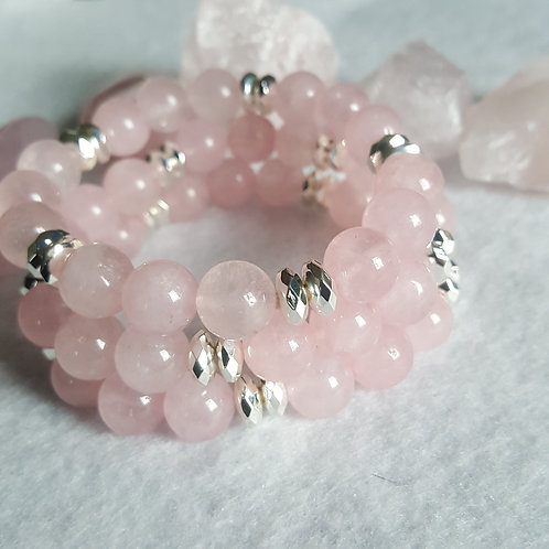 Rose Quartz Bracelet w/large flat Hematite Spacers