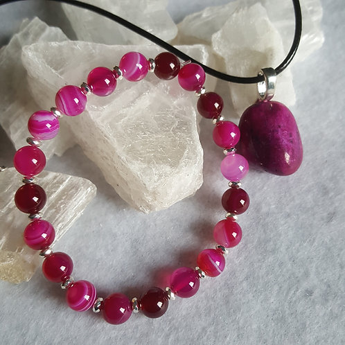 Pink Banded Agate Necklace & Bracelet Set