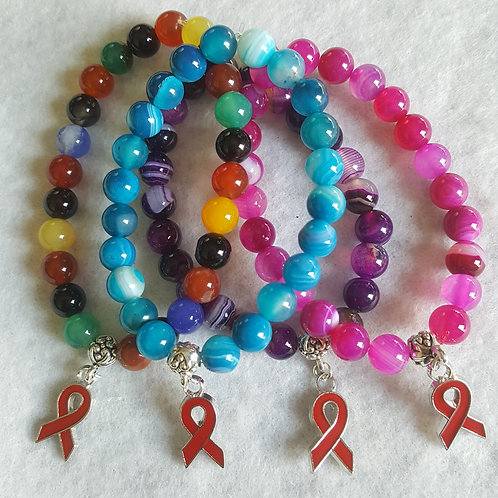 Banded Agate AIDS/HIV Awareness Bracelet