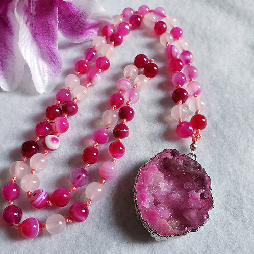 Pink Agate Necklace with Agate Druzy Pendant