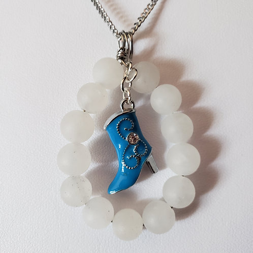 White Jade Necklace with Cowgirl Boot