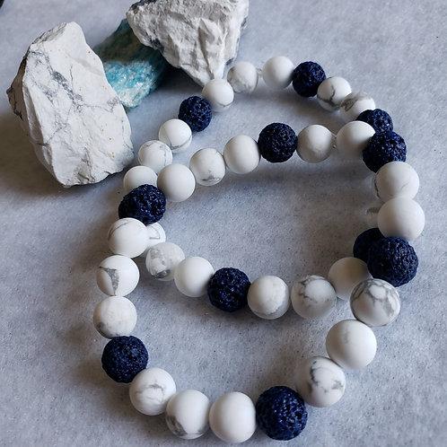 Howlite & Blue Lava Stone Bracelet