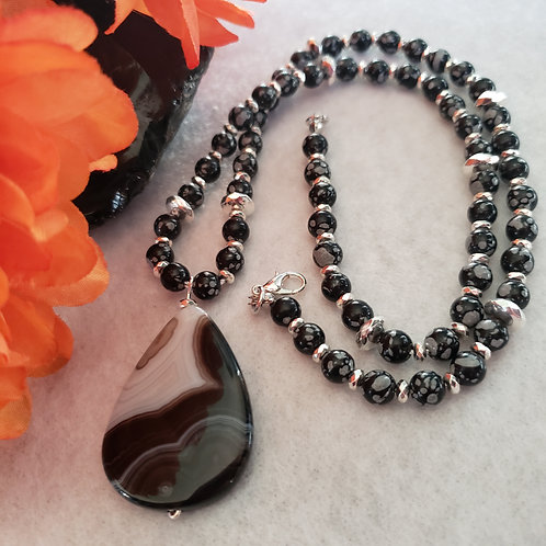 Snowflake Obsidian Necklace with Agate Pendant