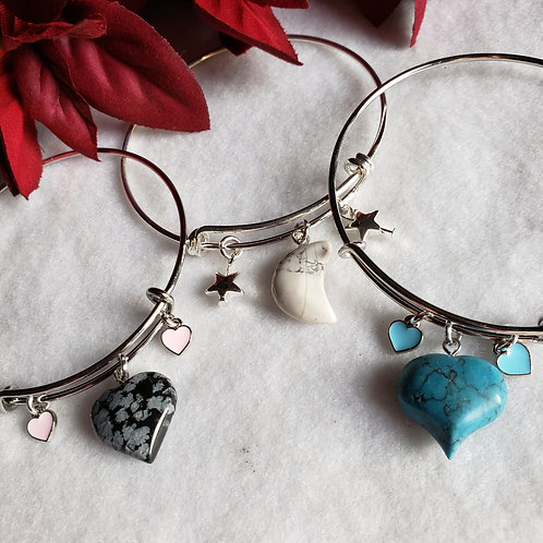 Stainless Steel Bangle w/Charms