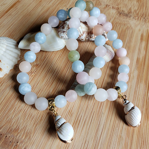 Morganite Shell Bracelets