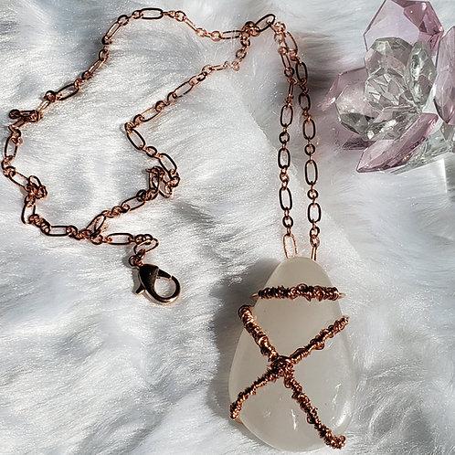 White Onyx Wire Wrap Necklace