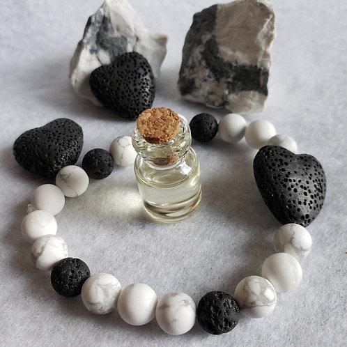 Howlite & Lava Heart Aromatherapy Bracelet Set