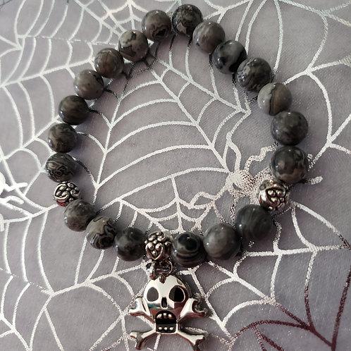 Grey Picture Jasper Skull Bracelet