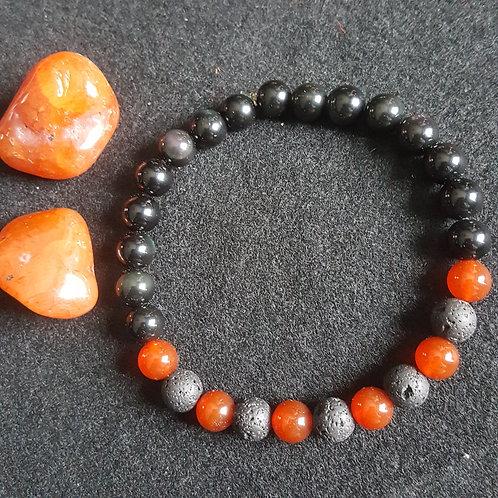 Carnelian & Obsidian & Lava Bracelet