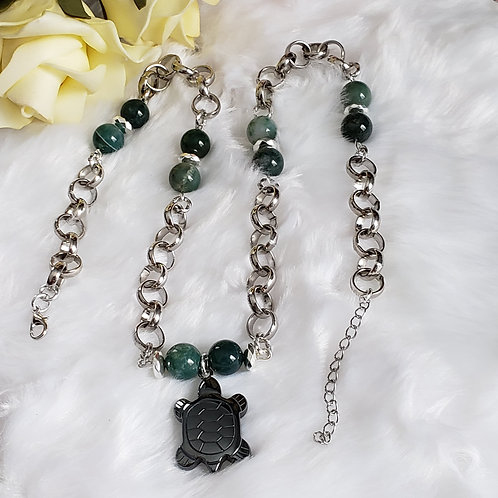 Moss Agate Turtle Necklace